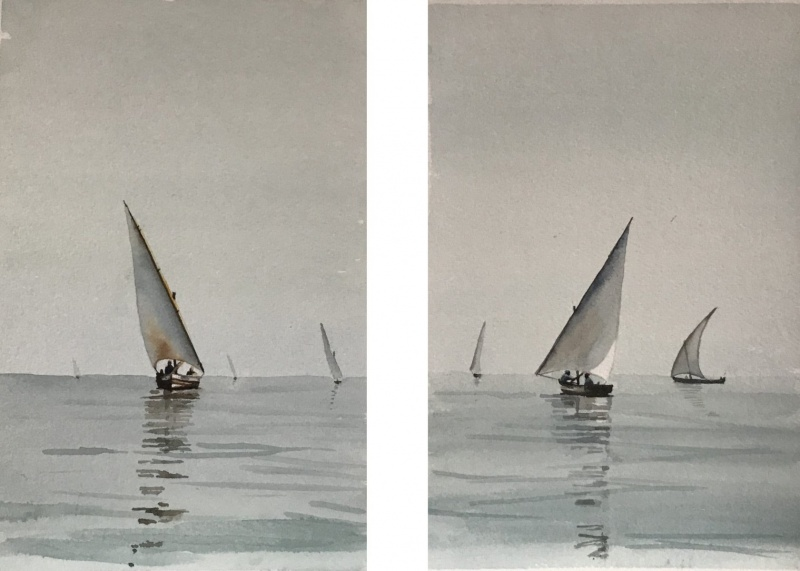 East Africa.  Dhows fishing offshore.