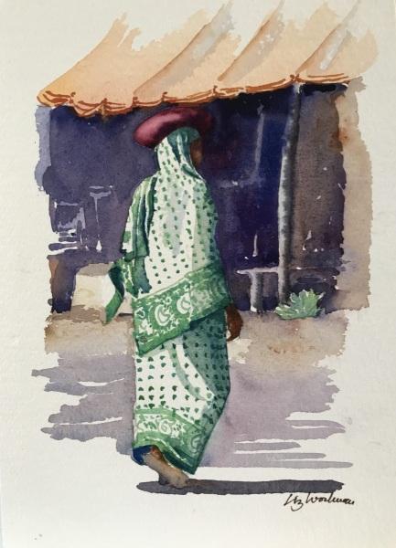East Africa.  Zanzibari lady. Watercolour.