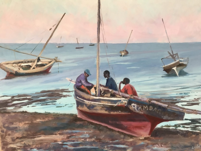 East Africa. Dhows, mending the nets.