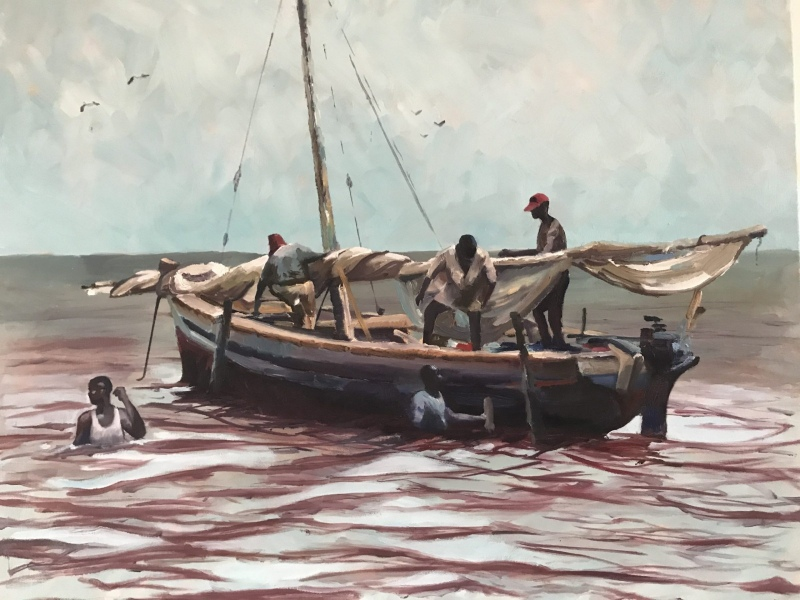 East Africa. Dhows landing the catch.
