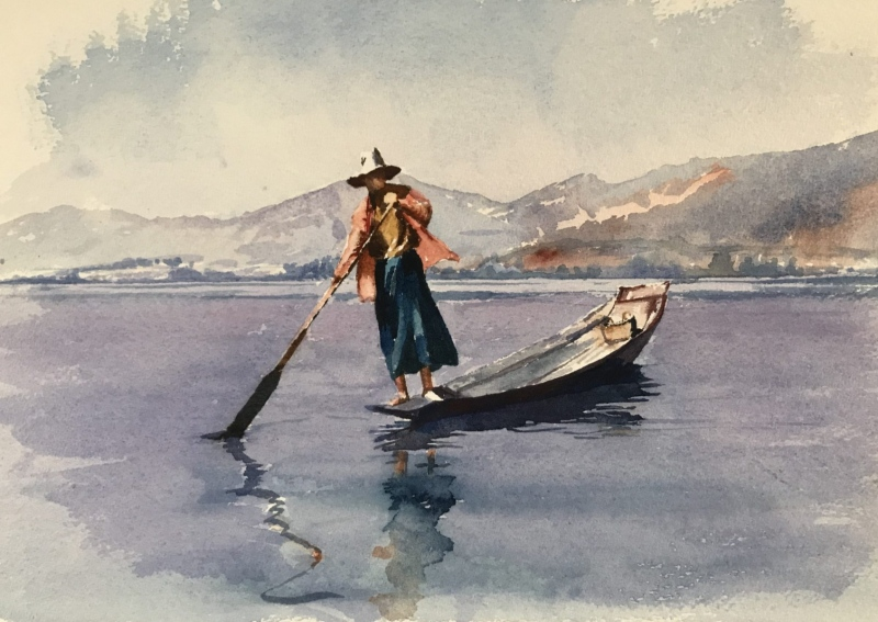 Burma. Inle Lake. Watercolour.
