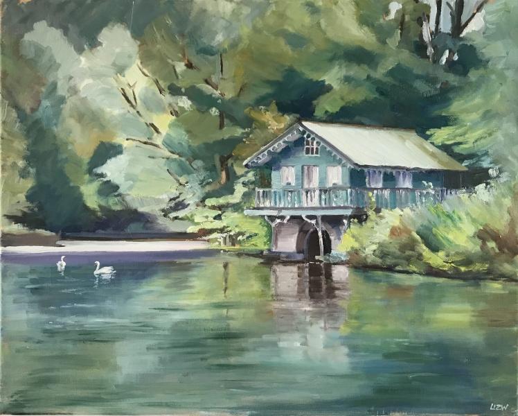 England. Boathouse on Longford's Lake.