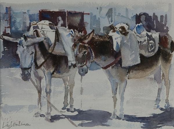 Greece. 2 Donkeys on the quayside