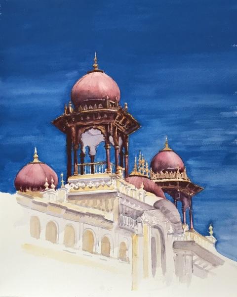 India.  Mysore minarets.