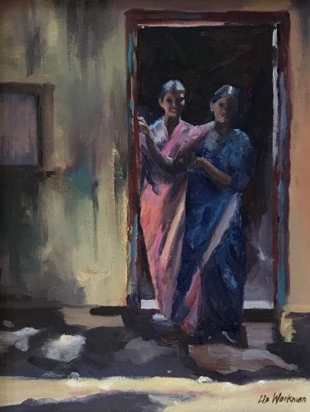 India.  Ladies in doorway.