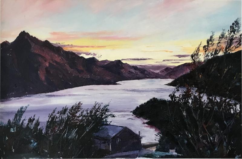 New Zealand.  Lake Wakatipu sunset.