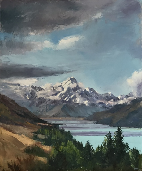 New Zealand.  Mount Cook and Lake Pukaki.  S