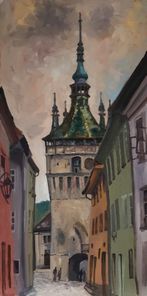 Transylvania. Sighisoara church. Oil on board.