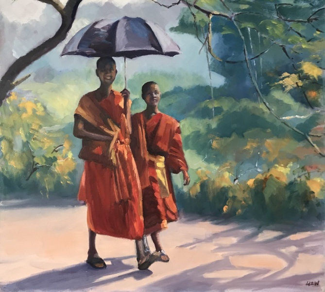 Vietnam & Laos.  2 Buddhist boys in Louang Prabang.