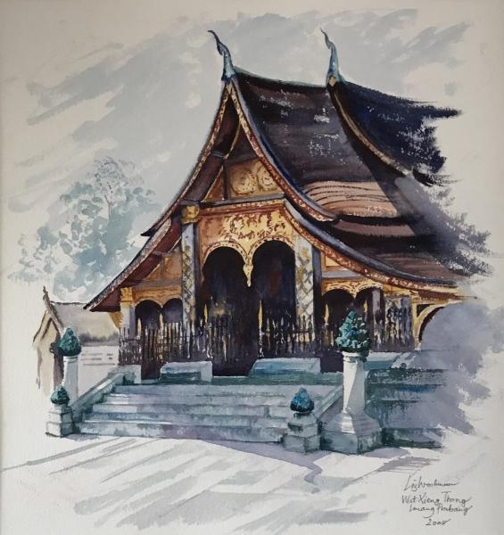 Vietnam & Laos.  Wat Xang Thong, Louang Prabang. Watercolour.