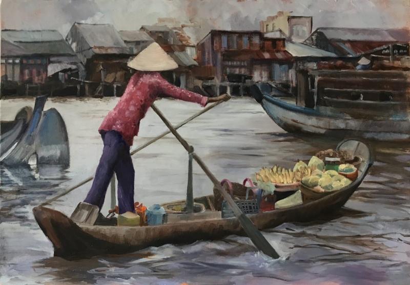 Vietnam & Laos.  Mekong Floating Market.