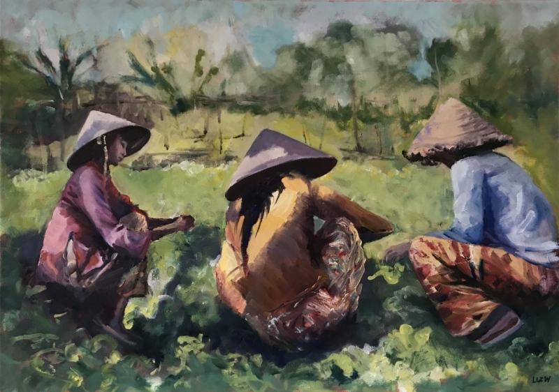 Vietnam & Laos.  Lettuce pickers.